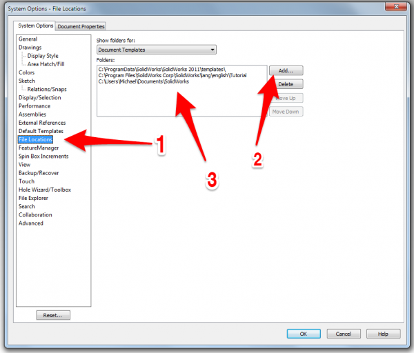 Setup of SolidWorks Template File Paths - ATTWiki
