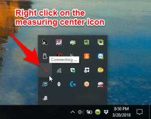 Right click on the measuring center icon.png
